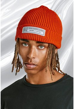 Orange Skater Fit Beanie With Woven Branded Tab