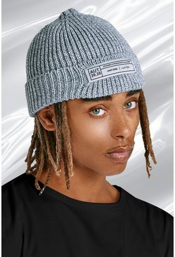 Grey marl Skater Fit Beanie With Woven Branded Tab
