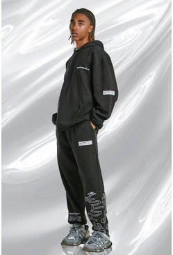 Black MAN Official Oversized Hooded Graphic Tracksuit