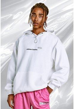 Ecru Oversized Hoodie With Blush Back Print