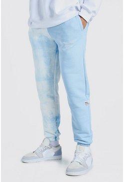 Jogging effet tie-dye avec onglet tissé fendu Official MAN, Bleu