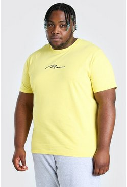 Yellow Plus Size MAN Script Embroidered T-Shirt