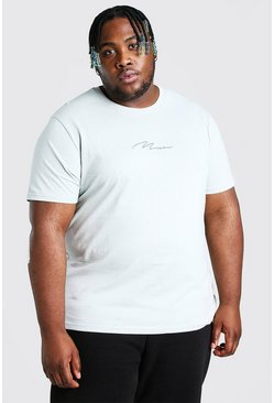 Silver Plus Size MAN Script Embroidered T-Shirt