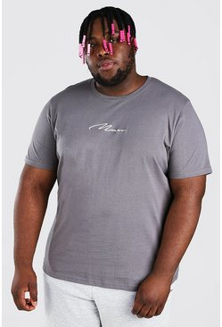 Slate Big And Tall MAN Script Embroidered T-Shirt