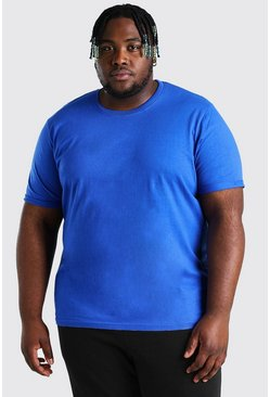 Cobalt Plus Size T-Shirt With Rolled Sleeves