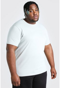 Silver Plus Size T-Shirt With Rolled Sleeves