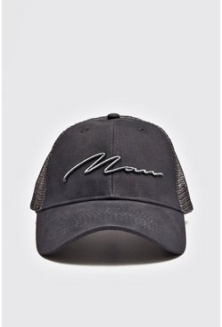 Mens Grey MAN Script 3D Embroidered Trucker Cap