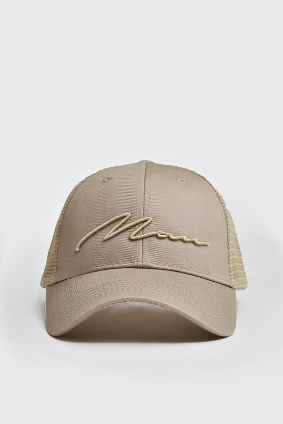 Mens Beige MAN Script 3D Embroidered Trucker Cap