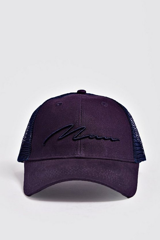Mens Navy MAN Script 3D Embroidered Trucker Cap