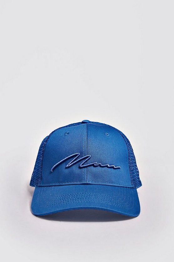 Mens Sky MAN Script 3D Embroidered Trucker Cap