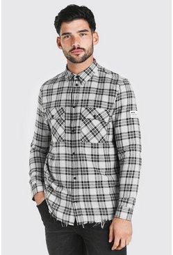 Grey Long Sleeve Overdyed Check Shirt