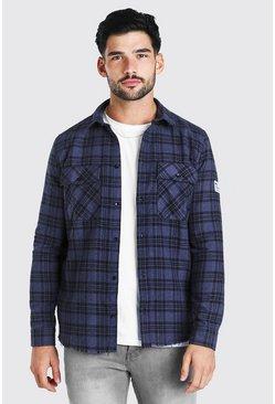 Navy Long Sleeve Overdyed Check Shirt