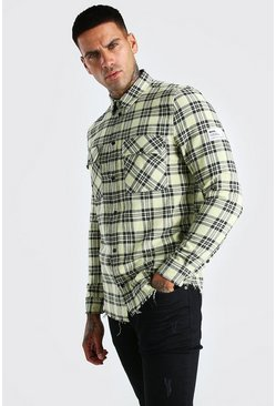 Yellow MAN Check Shirt With Woven Tab And Raw Hem