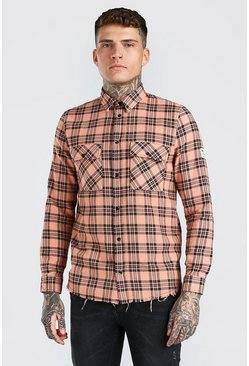 Orange MAN Check Shirt With Woven Tab And Raw Hem