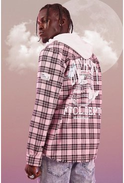 Pink Long Sleeve Overdyed Flannel Check Shirt With Back Print