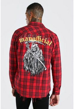 Red Long Sleeve Check Shirt With Back Print