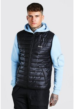 Black Funnel Neck Padded Gilet