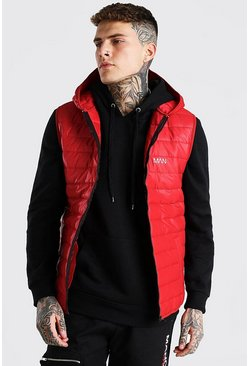 Red Padded Gilet With Hood