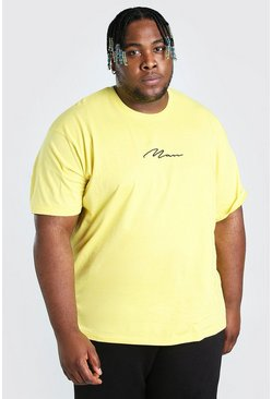 Yellow Big And Tall Loose Fit MAN Script T-Shirt