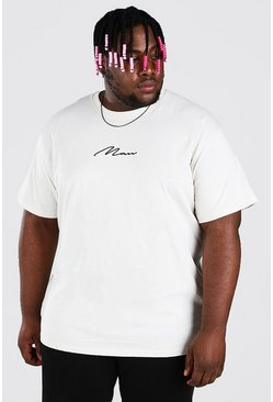 Ecru Big And Tall Loose Fit MAN Script T-Shirt