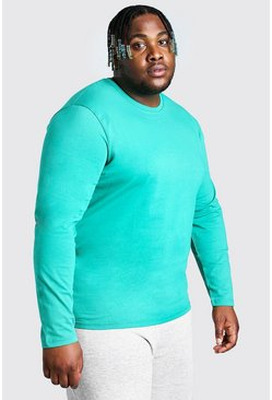 Green Big And Tall Basic Long Sleeve T-Shirt