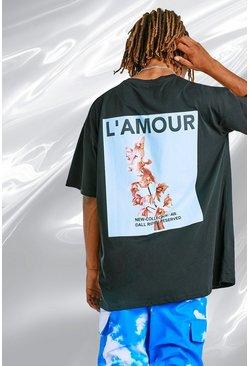 Black Oversized Back Print Graphic T-Shirt