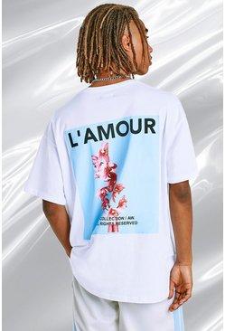 White Oversized Back Print Graphic T-Shirt