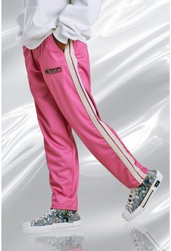 Pink Loose Fit Tricot Joggers With Split Hem