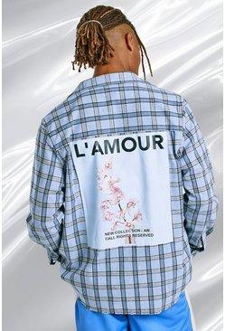 Blue Oversized Plaid Shirt With Back Print And Raw Hem