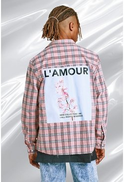 Pink Oversized Plaid Shirt With Back Print And Raw Hem