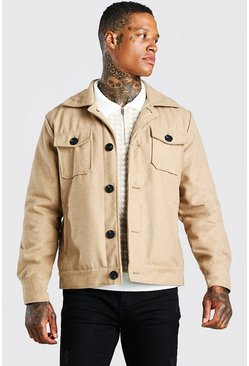 Trucker-Jacke in Wolloptik, Stone