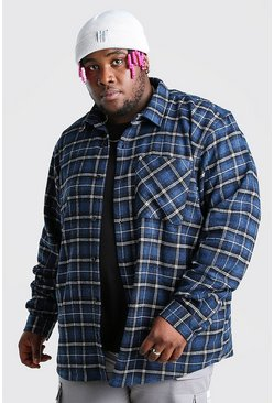 Blue Plus Size Long Sleeve Check Overshirt