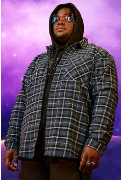 Blue Plus Size Man Official Back Print Flannel Shirt