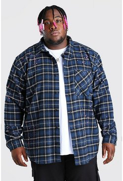 Blue Plus Size Check Shirt With Paint Splatter