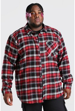 Red Plus Size Long Sleeve Flannel Overshirt