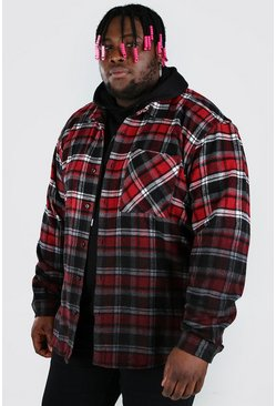 Red Plus Size Flannel Overshirt With Ombre Hem