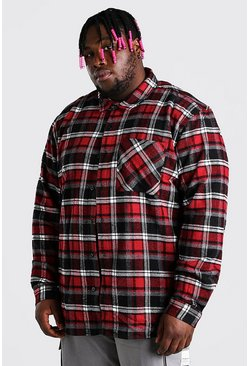 Red Plus Size Check Overshirt With Back Embroidery