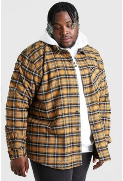 Mustard Big And Tall Long Sleeve Check Overshirt