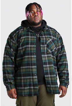 Khaki Plus Size Long Sleeve Check Overshirt