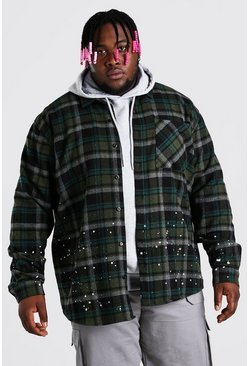 Khaki Plus Size Check Overshirt With Bleaching