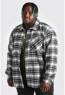 Ecru Big And Tall Long Sleeve Check Overshirt