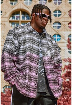 Ecru Big And Tall Check Shirt With Ombre Hem