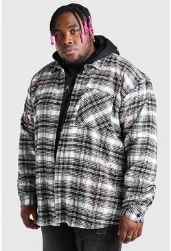 Ecru Plus Size Check Overshirt With Paint Splatter