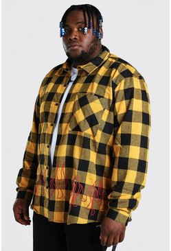 Yellow Plus Size Check Overshirt With Flame Print