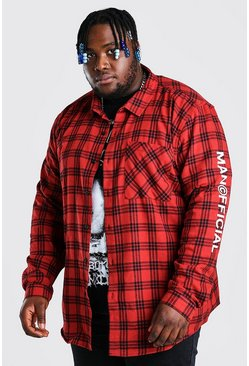 Red Plus Size Sleeve Print MAN Official Overshirt