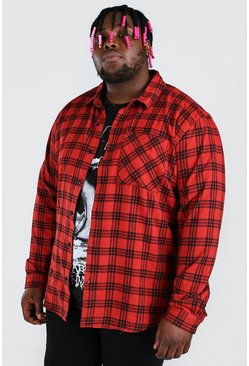 Red Plus Size Check Overshirt With Back Print
