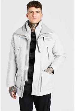 Light grey MAN Branded Funnel Neck Ski Jacket