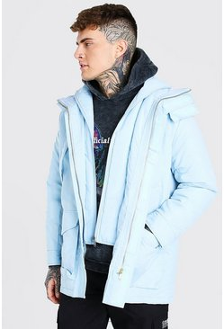 Pastel blue MAN Branded Funnel Neck Ski Jacket