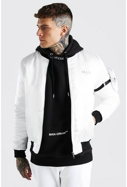Ecru MAN Satin Bomber With Strap Pocket Detail