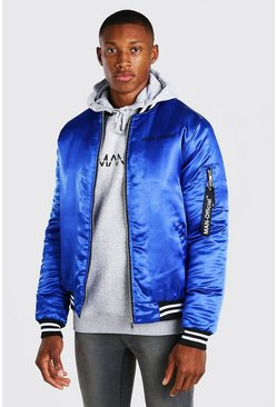 Blue MAN Official Satin Contrast Baseball Bomber